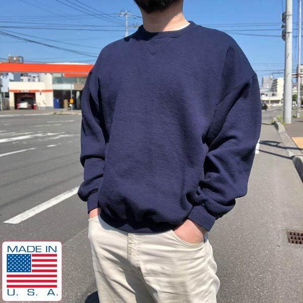 USA製/90's/DISCUS ATHLETIC/無地ラグランスリーブ/スウェット/紺系【L】トレーナー/古着/アメリカ製/ディスカス/ビンテージ/D142