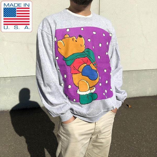 90's/USA製/Pooh/プーさん/ビッグプリント/スウェット/霜降りグレー系【L】ディズニー/オフィシャル/トレーナー/D142