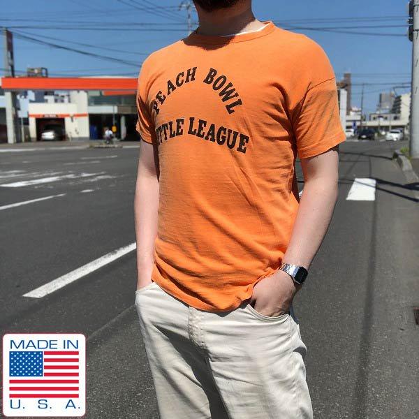60's/USA製/ラッセル/半袖Tシャツ/オレンジ系【M程度】コットン/丸首/丸胴/ラッセルサザン/アメリカ製/米国製/ビンテージ/D89