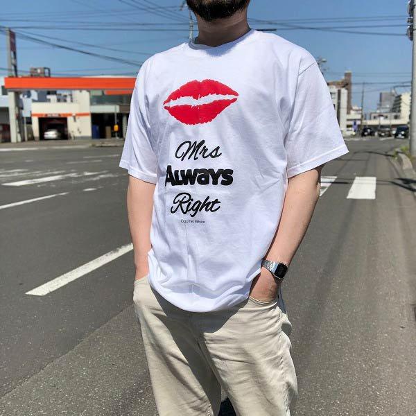 新品/mrs always right/半袖Tシャツ/白【L】100%コットン/丸首/クルーネック/プリントT/未使用品/古着/D141