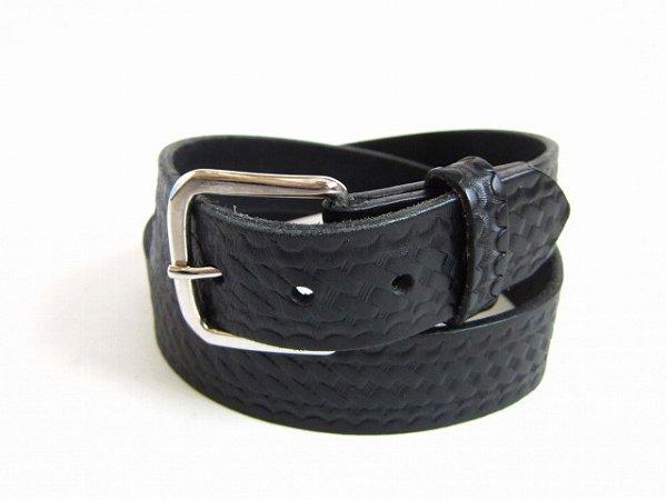 美品/USA製/boston leather/6582/バスケットウィーブ/レザーベルト/黒【表記36インチ/W33〜37インチ】メンズ/D142