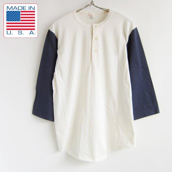 新品/USA製/70's/STEDMAN/ヘンリーネック/Tシャツ/生成×紺系【M】7分袖/アメリカ製/米国製/ビンテージ/デッドストック/D113