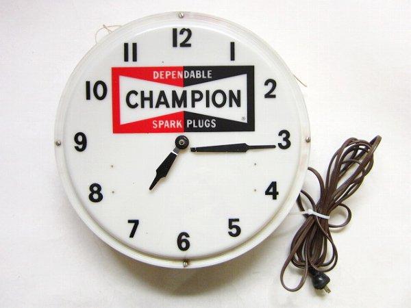 希少/USA製/CHAMPION SPARK PLUGS/壁掛け時計/チャンピオン/プラグ/ネオンクロック/ビンテージ/ガレージ/ハーレー/アメカジ/D128
