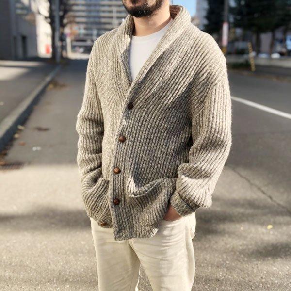 Pringle/畦編み/ショールカラー/ウール/カーディガン【XL】プリングル/セーター/ビンテージ/PV