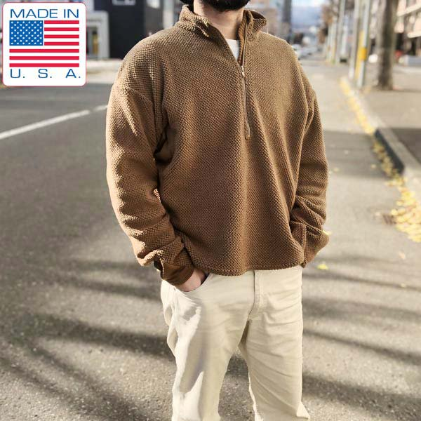 USA製/INSPORT/米軍/ポーラテック/フリース/プルオーバー/ジャケット【XL】茶系/コヨーテ/ハーフジップ/インスポート/D142