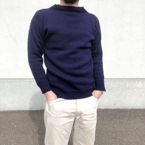Guernsey woollens/ガンジー/セーター/紺系【36】ニット/メンズ/ボートネック/ガンジーウーレンズ/ビンテージ/D142