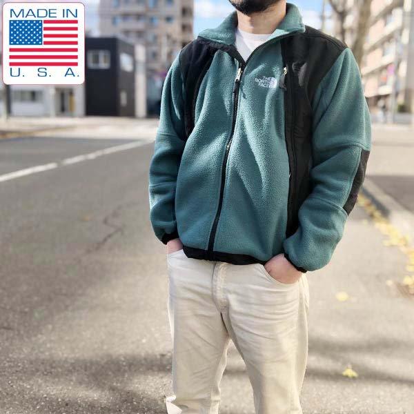 USA製/ノースフェイス/ポーラテック/フリース/切替ジャケット/緑系×黒【メンズS程度】ライナージャケット/アメリカ企画/D142
