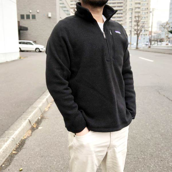 patagonia/パタゴニア/ニット フリース/プルオーバー/ジャケット/黒【L】ハーフジップ/メンズ/ベターセーター系/D142