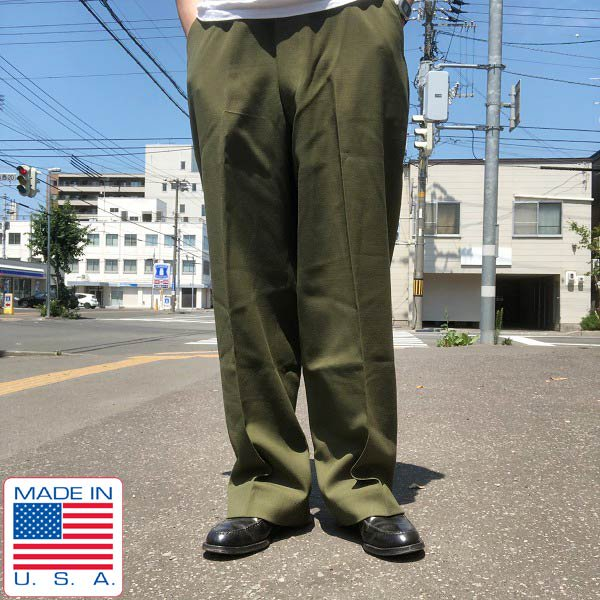 実物/米軍/US ARMY/サージ織/ウールパンツ/オリーブグリーン系【M-R】ミリタリーパンツ/フィールドトラウザース/ビンテージ/D142