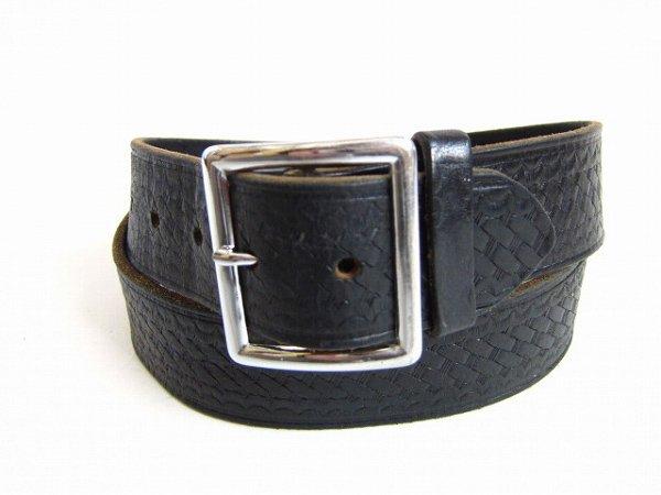 USA製/boston leather/6505/バスケットウィーブ/ギャリソンベルト/黒【表記38インチ/W33〜40インチ】レザーベルト/メンズ/D142