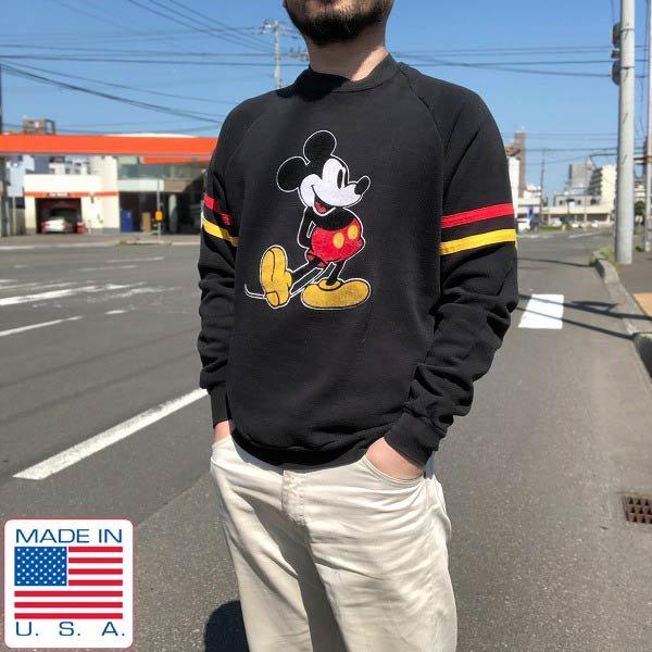 80's/USA製/オールド ミッキー/スウェット/黒【M位】フロッキープリント/ミッキーマウス/ディズニー/アメリカ製/ビンテージ/D113