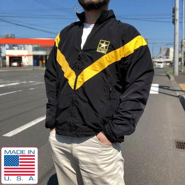 実物/米軍/US ARMY/APFU/切替フルジップ/ナイロン ジャケット/黒×黄色系【S-L】ウィンドブレーカー/ミリタリージャケット/D139