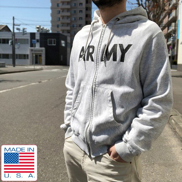 実物/米軍/US ARMY/PFU/フルジップ/スウェット/パーカー【M】ジップアップ/フーディ/トレーナー/アメリカ製/D127
