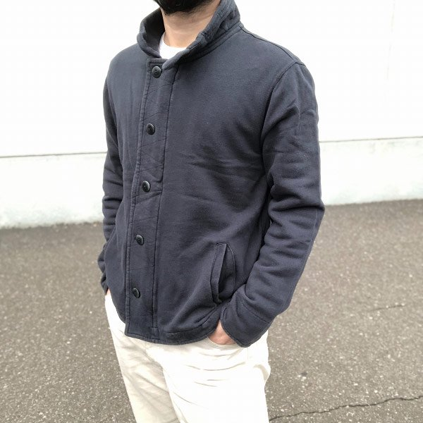 J.CREW/ビンテージフリース/スウェット/ジャケット/紺系【M】コットン/フルジップ&ボタン/Jクルー/ジェイクルー/ブルゾン/D136