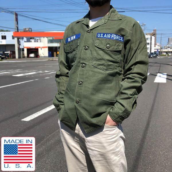 70's/USA製/実物/米軍/US ARMY/ユーティリティ シャツ/OG107【15-1/2】コットンサテン/ミリタリーシャツ/ビンテージ/D135