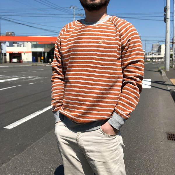 POLeR/ポーラー/ボーダー/スウェット/オレンジ系×グレー系【M】トレーナー/メンズ/古着/D138
