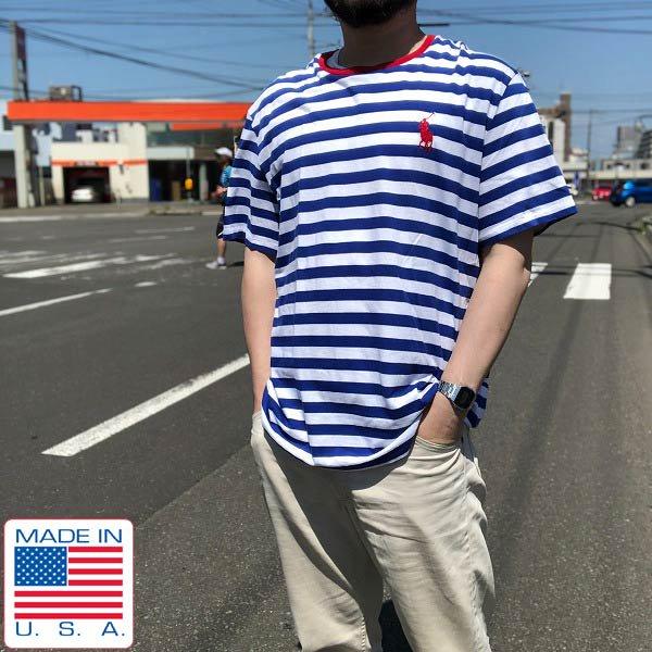 USA製/POLO/ポロ/ラルフローレン/2016年リオ五輪/パラリンピック/ボーダー/半袖Tシャツ【XL】ポロ刺繍/青×白系/公式ウェア/D138