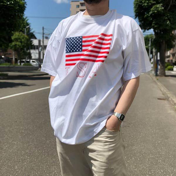 新品/旧タグGILDAN/USA星条旗/ビッグフラッグ/プリント/半袖Tシャツ/白【XL】コットン/丸首/丸胴/アメリカ国旗/大きいサイズ/D134
