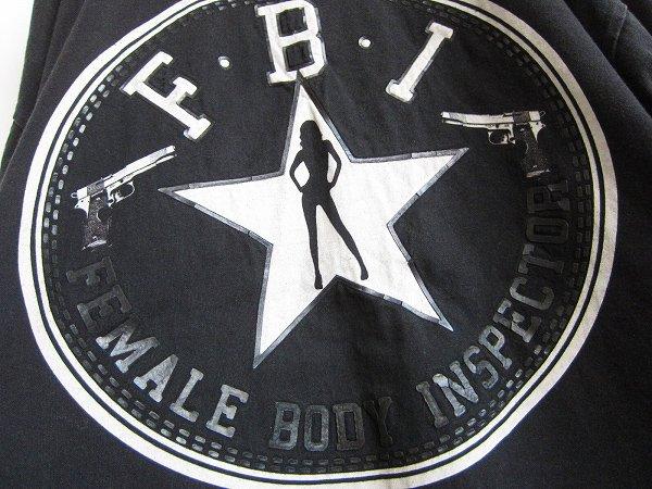 USA製/FBI/クルーネック/半袖Tシャツ/黒【4XL】丸首/丸胴/ビッグシルエット/大きいサイズ/アメリカ製/D142