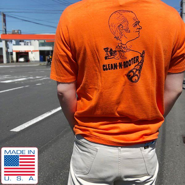 70's/STEDMAN/半袖/ポケットTシャツ/背面プリント入り/オレンジ系【L】丸胴/丸首/コットン/片ポケ/ポケT/ビンテージ/D93