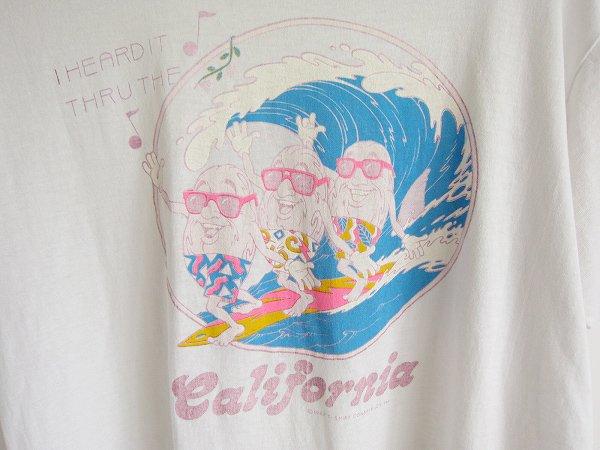 80's/USA製/カリフォルニアレーズン/半袖Tシャツ/白系【L】SCREEN STARS/丸首/丸胴/アメリカ製/米国製/古着/PV