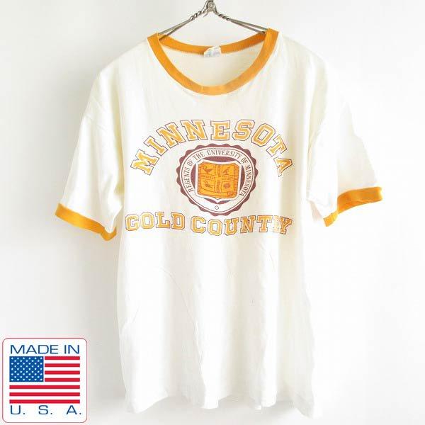 70's/USA製/Champion/チャンピオン/MINNESOTA/染み込み/半袖/リンガーTシャツ/白×黄色系【L】バータグ/丸胴/ビンテージ/PV