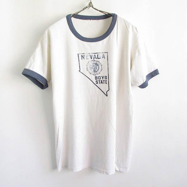 70's-80's/ビンテージ/NEVADA BOYS STATE/リンガーT/半袖Tシャツ/白系×紺系【メンズM程度】コットン/丸胴/ツートン/PV