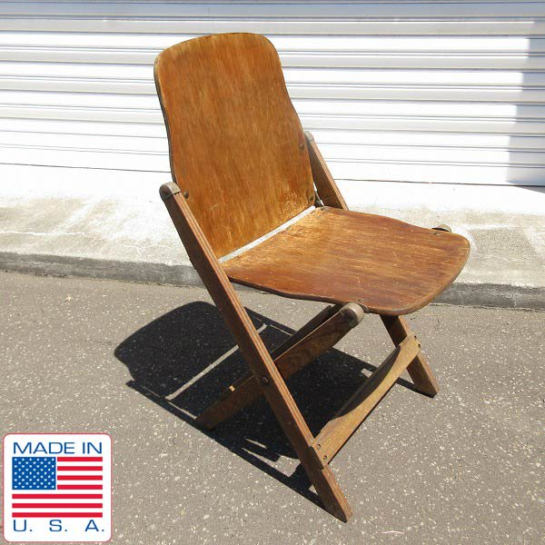 40's/アンティーク/アメリカ政府機関/AMERICAN SEATING/ウッド/フォールディング チェア/木製/折りたたみ椅子/ビンテージ/D128