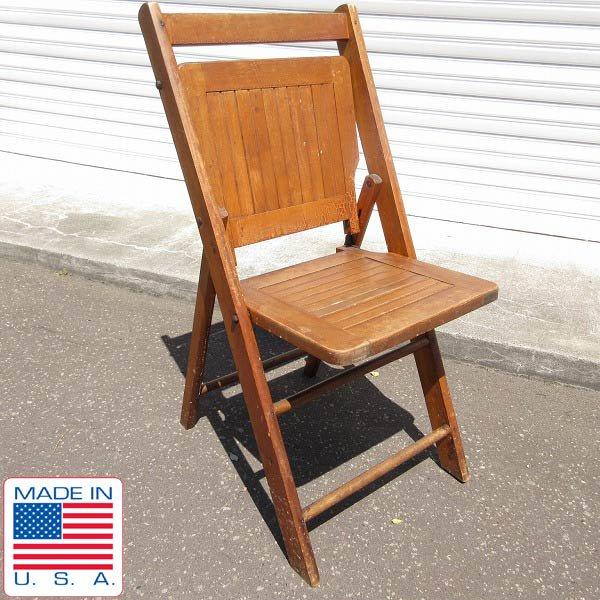 アンティーク/USA製/PARIS MFG/ウッド/フォールディング チェア/木製/折りたたみ椅子/店舗什器/インテリア/ビンテージ/D128