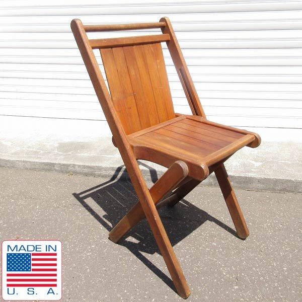 アンティーク/USA製/TUCK ER WAY/ウッド/フォールディング チェア/木製/折りたたみ椅子/Tucker Duck & Rubber/ビンテージ/D128
