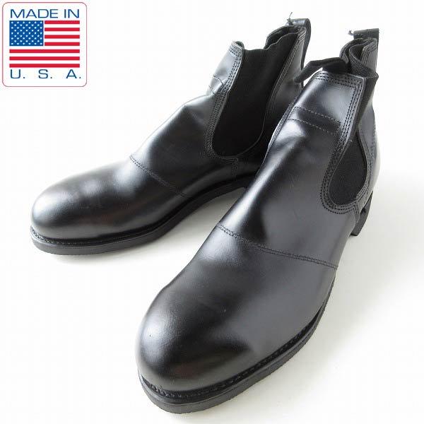 激レア/新品/USA製/実物/米軍/US NAVY/スチールトゥ/サイドゴア ブーツ/黒【9R/27cm】USN/ミリタリーブーツ/靴/D143