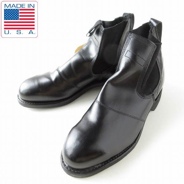 激レア/新品/USA製/実物/米軍/US NAVY/スチールトゥ/サイドゴア ブーツ/黒【8R/26cm】USN/ミリタリーブーツ/靴/D143