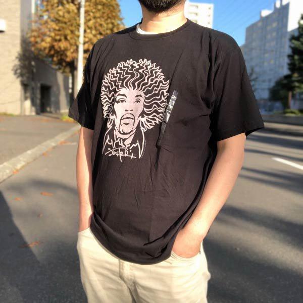 00's/新品/ジミヘン/フロッキープリント/半袖Tシャツ/黒【L】ジミ・ヘンドリックス/コットン/パキ綿/デッドストック/D143
