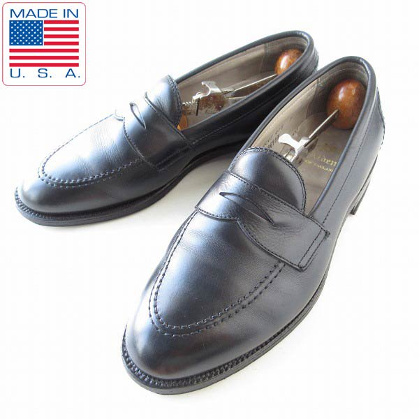 USA製/Alden/オールデン/9695F/ペニーローファー/黒【8.5E/幅広26.5cm】Uチップ/モックトゥ/メンズ/靴/D143