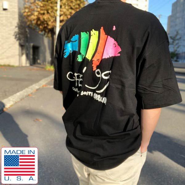 新品/80's/USA製/CAFE'99/企業物/半袖Tシャツ/黒【XXL】アドバタイジング/魚柄/アニマル柄/Hanes/ビンテージ/デッドストック/D143