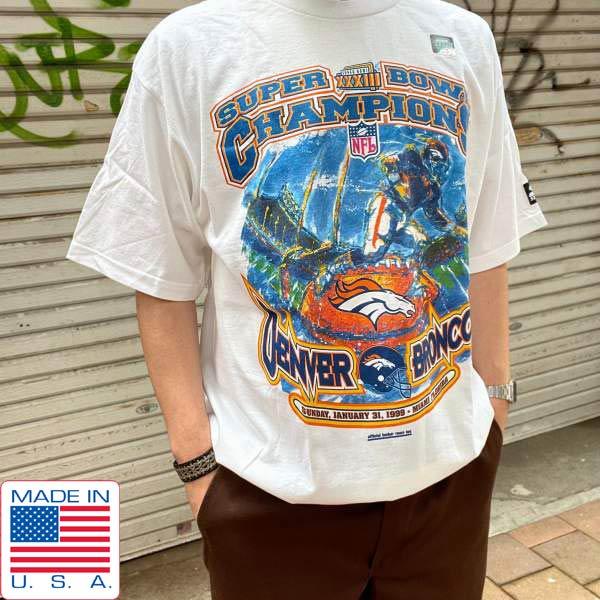 レア/新品/90's/USA製/NFL/スーパーボウル33/半袖Tシャツ/白【L】1999年/オフィシャル ロッカールームTEE/デッドストック/D143