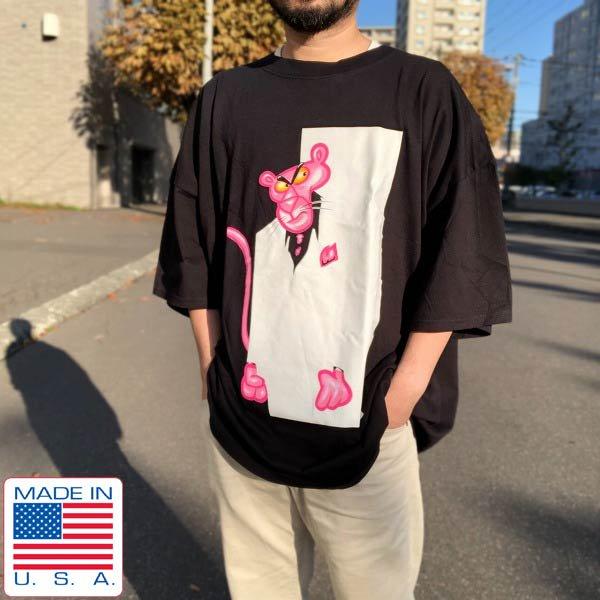 新品/00's/USA製/ピンクパンサー/大判プリント/半袖Tシャツ/黒【3XL】ビッグシルエット/ルーズシルエット/デッドストック/D143