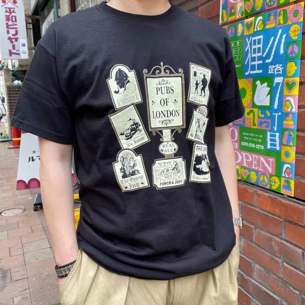 新品/英国製/PUBS OF LONDON/スーベニア/半袖Tシャツ/黒【L】コットン/ロンドンのパブ プリント/ビンテージ/D143