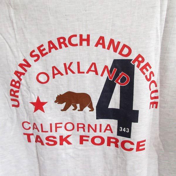 新品/アメリカ/カリフォルニア ベア/半袖Tシャツ【XL】カリフォルニア州第4都市捜索救出任務部隊/丸胴/デッドストック/D143