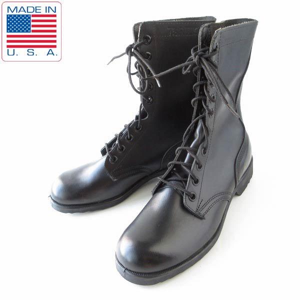 新品/80's/USA製/米軍/コンバットブーツ/黒【7.5R/25.5cm】レースアップブーツ/ビンテージ/デッドストック/靴/D143