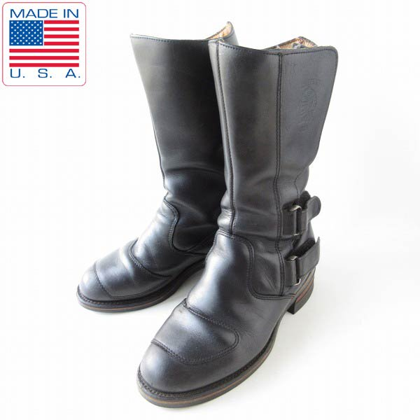 USA製/CHIPPEWA/チペワ/ラリーブーツ/黒【7D/25cm】モーターサイクルブーツ/バイカー/ライダー/靴/D143