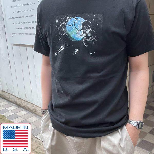 希少/新品/80's/USA製/宇宙 スカラベ 地球/半袖Tシャツ/黒【L】アメリカ製/シングルステッチ/ビンテージ/デッドストック/D143