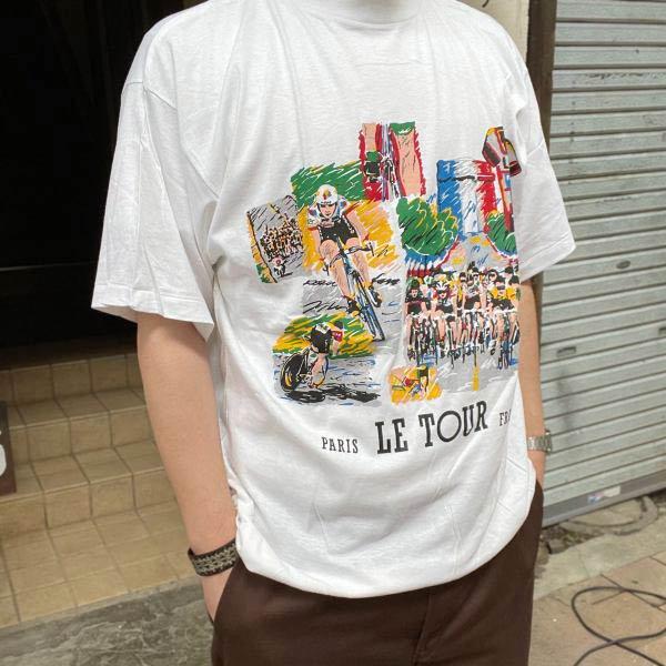新品/ツールドフランス/半袖Tシャツ/白【XXL】コットン/自転車/サイクル/レース/丸首/ビンテージ/デッドストック/D143
