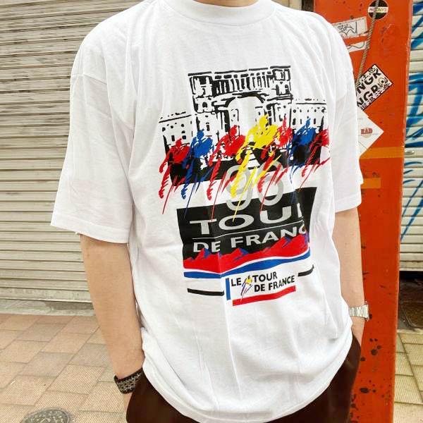 新品/90's/ツールドフランス/半袖Tシャツ/白【L】1996/コットン/自転車/サイクル/レース/丸胴/デッドストック/ビンテージ/D143