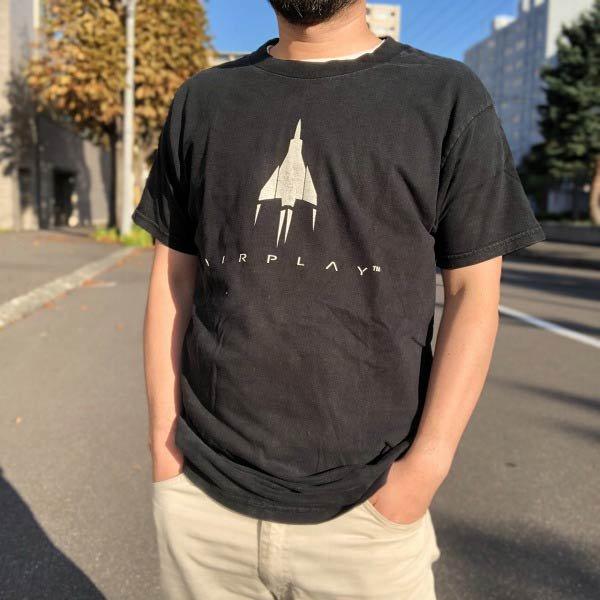 90's/カナダ製/フルーツオブザルーム/AIRPLAY/半袖Tシャツ/黒【L】コットン/丸首/丸胴/FRUIT OF THE LOOM/D143