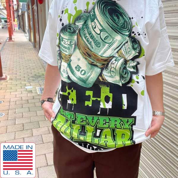 新品/90's/USA製/G.E.D./ヒップホップ/アートプリント/半袖Tシャツ/白【L】GET EVERY DOLLAR/ビンテージ/デッドストック/D143