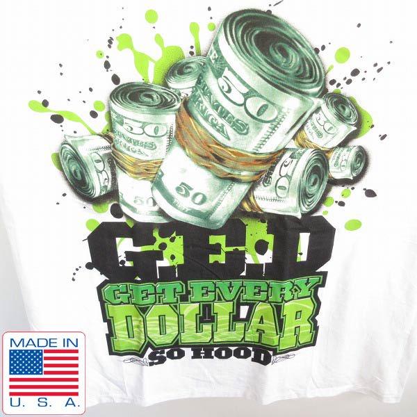 新品/90's/USA製/G.E.D./ヒップホップ/アートプリント/半袖Tシャツ/白【3XL】GET EVERY DOLLAR/ビンテージ/デッドストック/D143