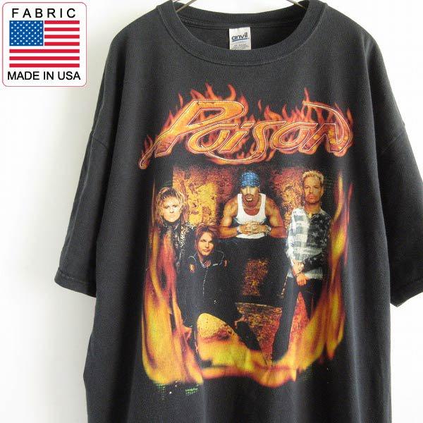2004年/Poison/ポイズン/ロックT/半袖Tシャツ/黒【2XL】ツアーT/バンドT/anvil/丸胴/丸首/コットン/D143