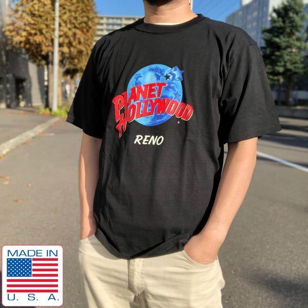 新品/90's/USA製/PLANET HOLLYWOOD/RENO/デカロゴ/半袖Tシャツ/黒【M】プラネットハリウッド/アメリカ製/デッドストック/D143