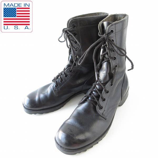 80's/USA製/実物/米軍/コンバットブーツ/黒【7.5R/25.5cm】レースアップブーツ/ビンテージ/サバゲー/靴/D143